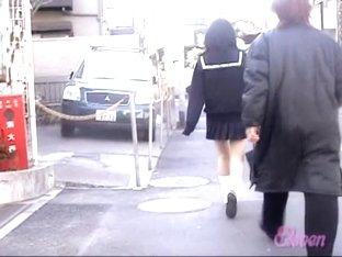 Asian schoolgirl skirt sharked by a nasty pervert.