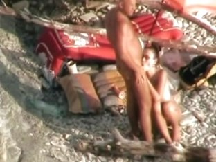 Voyeur on public beach.Wife fuck the hubby with Strapon