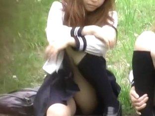 Voyeur's hidden camera filming girls pissing in public