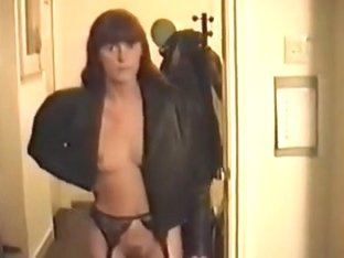my slutty wife showing her nylons and leather jacket great small mangos and priceless bush