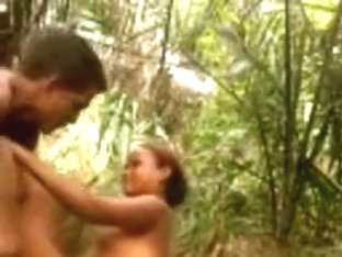 Latin girl couple makes a sextape in the jungle