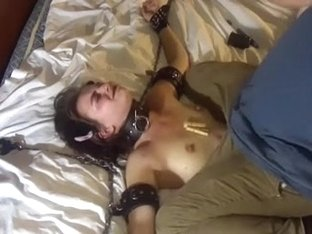 My wife had her hands shackled in ottoman for some tickling and teasing