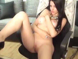 Brunette 01Amiana removes sexy lingerie and masturbates