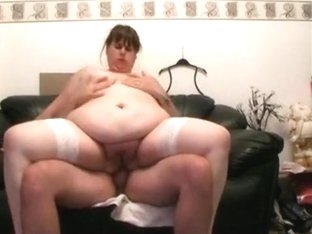 Fat bbw has doggystyle and cowgirl sex on the sofa