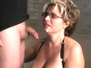 Busty kinky MILF suck for a facial