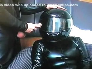 kinky helmet blow job and cumshot in leather and latex 2