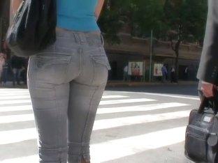 Sweet ass brunette in flip flops street candid video