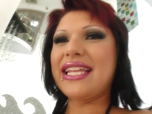 Give Me Pink Maya's punky pussy gets tamed this giant dildo