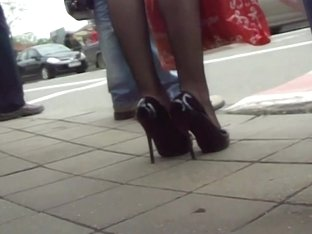 Wonderful girls in fishnet stockings filmed outdoors