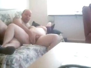 Husband fucking his plump mature wife on the couch