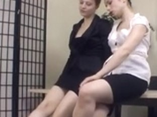 lesbo bondman worship two female-dom feet