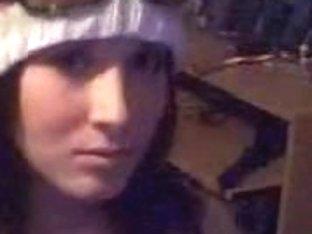 Stunning brunette showing her huge tits on webcam