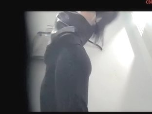 Young long-haired brunette was recorded on the spy camera
