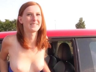 Redhead Eurobabe snatch pounded in an open fields for cash