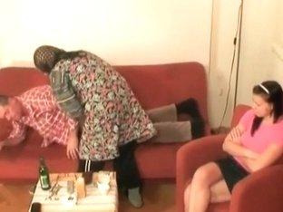 Hot babe helps granny to sucks a cock