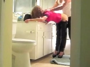 Slutty Teen With High Heels Get Qucik Doggy in Bathroom