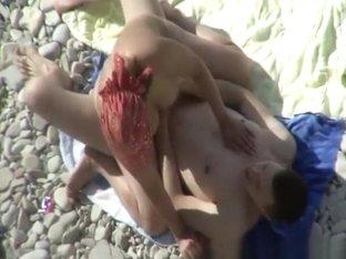 Big tits nudist blowjob and beach fuck