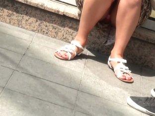 Pink undies upskirt voyeur street candid video