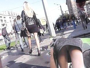 Blond running away from my up petticoat web camera