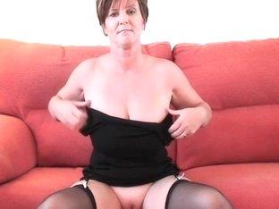 Impressive grandma in nylons shows her large marangos and cunt