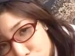 Kinky Japanese whore with glasses crammed heavily