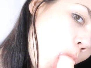 Brunette model Jasmin dildoing pussy