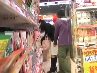 Asian teen panties shown in a store thanks to skirt sharking