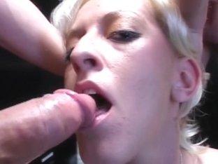Slutty golden-haired whore sucks ramrods then receives face spunk overspread
