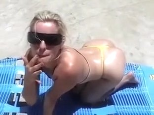 Blond mature I'd like to fuck fed some cum in backyard
