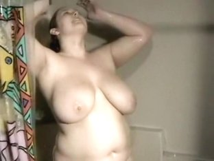 Obese big beautiful woman Ex Girlfriend with large Wobblers taking a shower