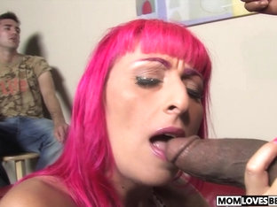 Son watching mom Raven Black fucking a BBC