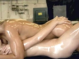 Lesbian girls are having oil catfights on cam