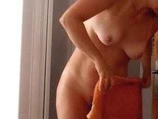 Wife drying herself after the shower (secretly captured)