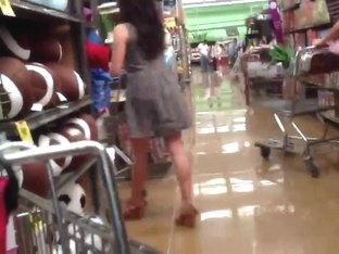 Upskirt at the blankets aisle