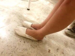 My exgf cute feet in toms with crushed heels - candid