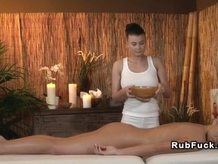 Busty lesbian masseuse in action massage big tits