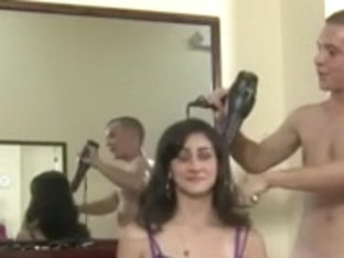 One guy enjoying sex with 3 babes in public barbershop