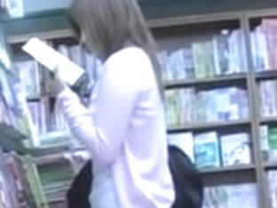 Library sharking scene of hot nerdy chick being completely revealed