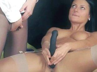 Luxury pornstars in pants enjoying strap