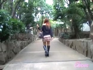 Red-hot noisy Asian slut falls on the ground during sharking encounter