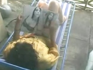 sexy masturbating on terrace