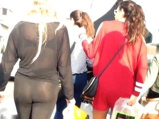 See-thru thong in yoga pants walking the street