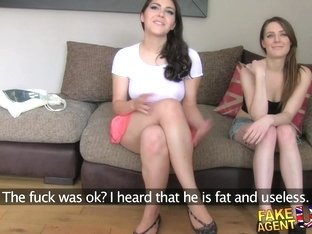 FakeAgentUK Two girls happy to fuck him for a porn job