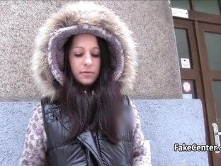 Brunette takes big cock in public