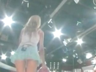 Hot little blonde makes upskirt magic bowling on TV