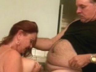 Redhead granny with large floppy bazookas unfathomable mouths old corpulent boyfrend