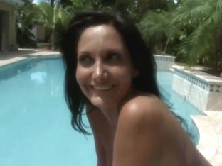Ava Addams starts exposing body near pool