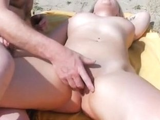 Tia on a public Beach + Surprise