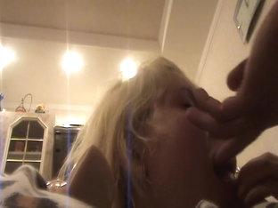 Blonde angel sucking my fat peter