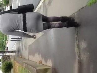 Guy cums on womans back in the street